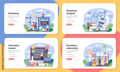 Fotografía Chemistry studying web banner or landing page set