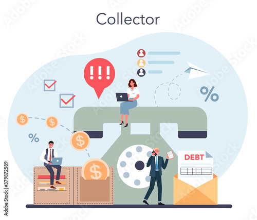 Fotografering Debt collector concept. Pursuing payment of debt owed by person