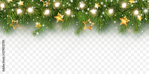 Border with green fir branches, gold stars, snow and lights isolated on transparent background. Pine, xmas evergreen plants banner. Vector Christmas tree seamless garland