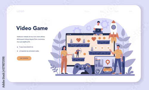 Game development web banner or landing page. Creative process