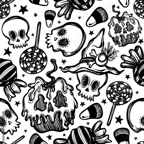 Vector illustration, Happy Halloween, poisoned apple with skulls, various sweets, mysticism Canvas Print