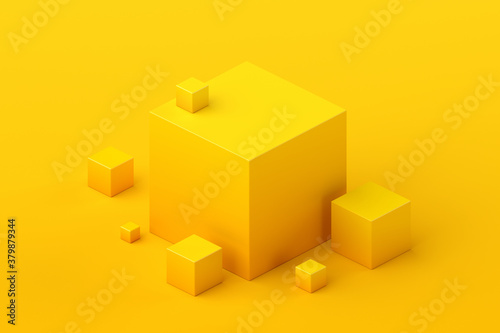 Abstract 3d render, geometric composition, yellow background design with cubes - 379879344