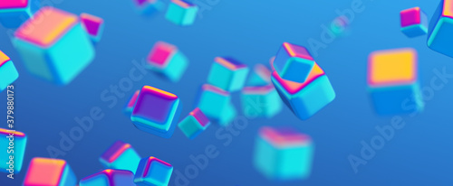 Photo Abstract 3d render, geometric background design with colorful cubes