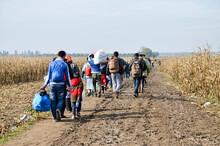 Group Of War Refugees Walking ...