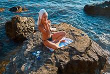 Woman Enjoying Sea View. Lady ...