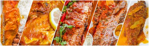 Photo Collage de poissons cuisinés à la créole, gastronomie réunionnaise