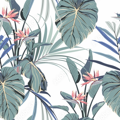 Watercolor style pink strelitzia flowers and blue palm leaves seamless pattern. Decorative background in rustic boohoo style for wedding invite, fabric.