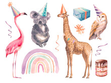 Watercolor Animals Party Set: Birthday Koala, Flamingo, Giraffe, Owl, Rainbow, Present Box, Confetti. Festive Elements Isolated On White Background.