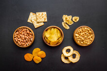 Pattern Of Snacks Mix Top View...