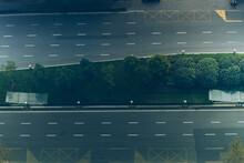 Overhead Shot Of Empty Multiple Lane Highway