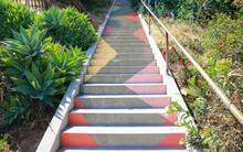 LOS ANGELES, CALIFORNIA, UNITED STATES - May 26, 2018: Hidden Los Angeles Stairway Artwork