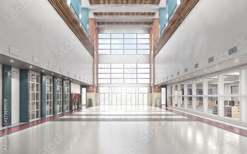 School entrance with high ceiling lobby. 3d illustration Poster Mural XXL