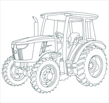 Vector Drawing Of The Tractor. The Drawing Is Inspired By A Real Machine. All Lines In The Drawing Can Be Edited.