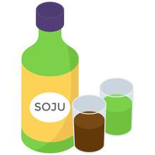 Soju Icon In Isometric Design