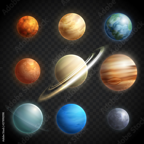Planets Realistic Transparent Set Canvas Print
