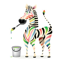 Positive Happy Colorful Zebra Paiting With Paints And Brush. Psychology Treatment Concept Animal Mascot. Funny Humorous Smiling Multi Color Zebra Design. Vector 3d Cartoom For Kids.