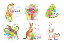 English Language Alphabet Letters With Animals For Teaching And Studying Collection. Giraffe, Hippo, Iguana, Jaguar, Kangaroo And Llama ABC Cartoon. Vector Isolated Clipart In Watercolor Style.