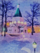 Illustration. Cross Stitch. New Year. View Of The Nightly Lit Church. Fairytale Night. Snowflakes Are Falling. Christmas Motifs