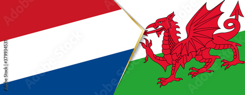 Obraz na plátně Netherlands and Wales flags, two vector flags.