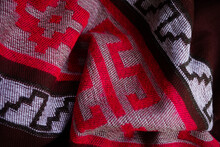 Argentinian Colorful Poncho Gaucho. Warm And Cozy. Pattern Close Up, Textile Background.