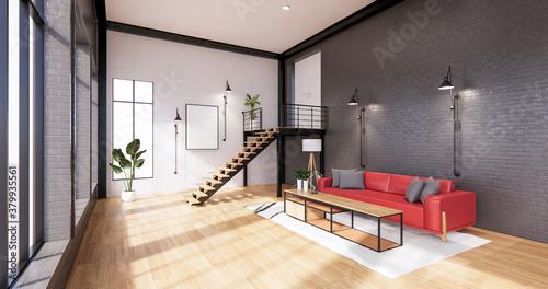 Fototapeta The interior ,Modern loft style living interior design. 3d rendering obraz