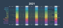 Colorful Calendar 2021 Minimalistic Full Year Grid, Each Month In Line, Two Weekend Days