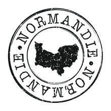 Normandy, France Map Postmark. A Silhouette Postal Passport. Stamp Round Vector Icon. Vintage Postage Designs.