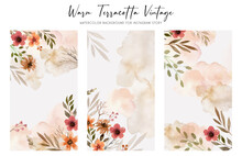 Warm Terracotta Vintage Watercolor Background For Instagram Story