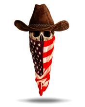 Skull In Wide-brimmed Cowboy H...