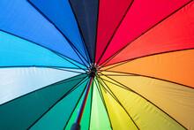 Umbrella Rainbow Colors Background Texture, Inside Shot