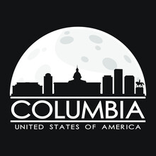 Columbia USA Full Moon Night Skyline Silhouette Design City Vector Art.