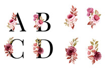 Watercolor Floral Alphabet Set Of A, B, C, D With Red And Brown Flowers And Leaves. Flowers Composition For Logo, Cards, Branding, Etc