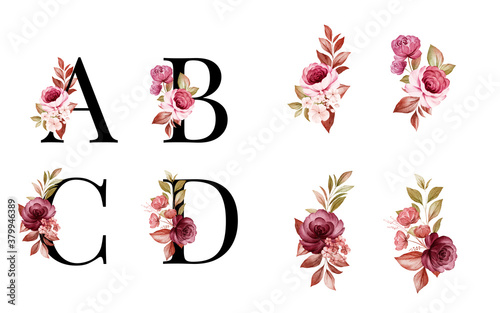 Fényképezés Watercolor floral alphabet set of A, B, C, D with red and brown flowers and leaves