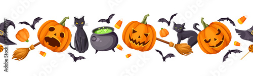 Vector Halloween horizontal seamless border with jack-o-lanterns (pumpkins), cats, bats, cauldron, hat, brooms and candy corns.