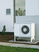 Modern House Of Future With Efficient Heat Pump Reduce Living Cost Concept