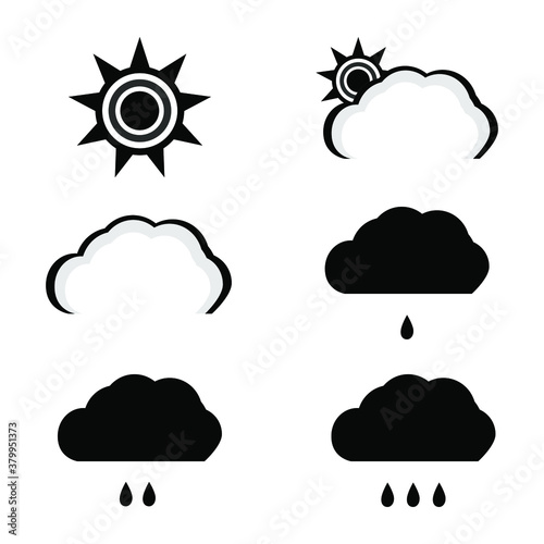 Set of vector weather icons. Eps 10. Wallpaper Mural