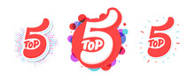 Top 5. Vector Icons. Hand-drawn Vector Illustration.