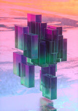 Purple And Green Tinted Rectangles Reflected On Surface