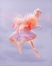 Abstract Image Of Two People Jumping With Distorted Upper Body