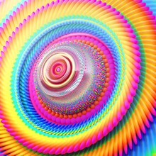 Concentric Swirls Of Rainbow C...