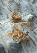 Flowers And Chains Painted Metal And Gold