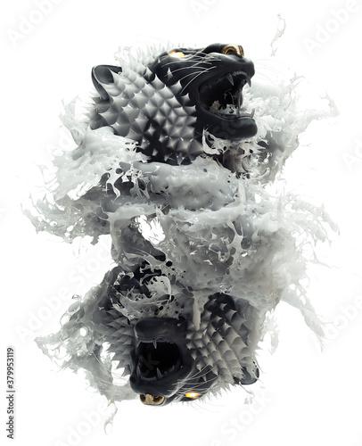 Mirrored image of animal head and white liquid splash