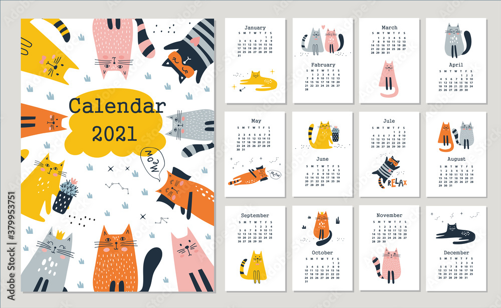 Obraz Calendar 2021 with cute cats. Hand drawn vector fototapeta, plakat