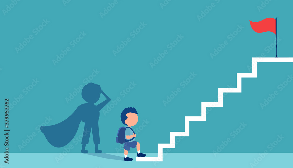 Fototapeta Vector of a boy with a super hero shadow climbing up stairs to reach his goal on the top