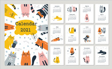 Calendar 2021 With Cute Cats. Hand Drawn Vector