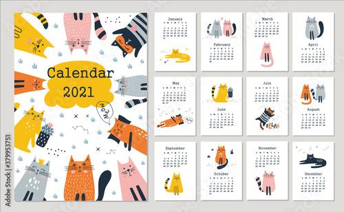 Fototapeta Calendar 2021 with cute cats. Hand drawn vector obraz