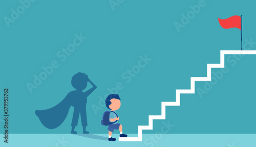 Fotografía Vector of a boy with a super hero shadow climbing up stairs to reach his goal on