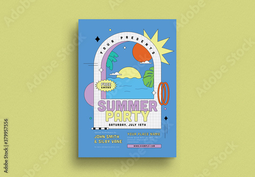 Fototapeta Summer Party Flyer Layout obraz