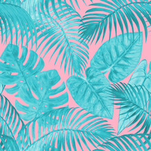 Watercolor Surreal Abstract Seamless Pattern With Tropical Exotic Plants