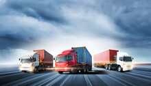 Truck Transport With Red Conta...